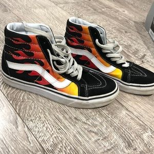 Boys Flame High Top Vans